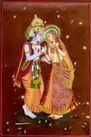 Handmade Indian Miniature Painting God And Goddess Krishna Radha Love Scene