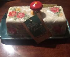 Pioneer Woman Better Butter Dish Vintage Floral NEW 2017 Stoneware Red Knob