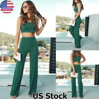 Women Outfits Sleeveless Crop Top Vest High Waist Pants Casual 2Pcs Set Jumpsuit