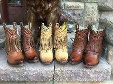 CORRAL Hippie BOHO FRINGE SHORT BOOTS COWGIRL BOOTS Cognac 6.5M or 7M