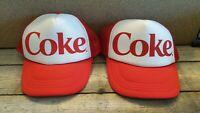Lot of 2 Coke Caps cap Coca Cola white red hat
