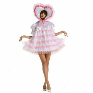 Sissy lockable sweetheart soft white satin dress Tailor-made