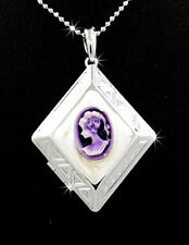 "Victorian Style Lady Beautiful Purple Cameo Pendant Locket Silver 24"" Necklace"