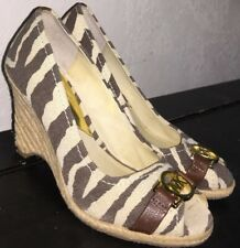Michael Kors Brown/ivory Canvas W/brown Leather Trim PeepToe Wedges Size 7M