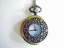 Vintage Style Pocket Watch Necklace Gold Tone Ornate Quartz Battery Included New