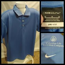 Mens Nike Golf Dri-Fit Blue Polo Shirt Columbus Life Insurance Size Medium