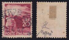 """Italia 1945 """"Democratica"""" L.20 lilla vinaceo n. 561a (19X) usato US certificato"""