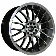 18x8.5 STR Wheels 514 Black with Machined Face and Lip Rims JDM Style