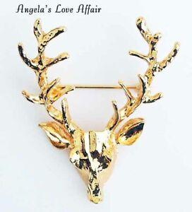 Christmasy Goldtone Weihnachten Xmas DEER BUCK STAG HEAD Brosche Abzeichen Pin