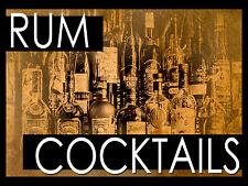 RUM cócteles, Retro Letrero De Metal/placa Cueva de hombre Bar Pub Pared