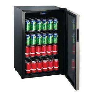 MINI BEVERAGE FRIDGE 152-Can Beer Soda Cooler Stainless Steel Black 4.5 Cu Ft