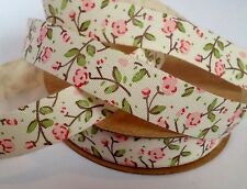 PINK ROSES FLORAL 15mm COTTON RIBBON 10M FULL ROLL RUSTIC SHABBY CHIC WEDDING