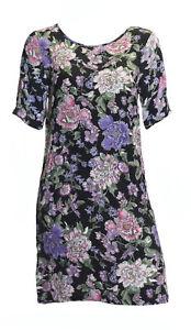 Ausverkauf Damen Schwarz Blumenmuster Kleid