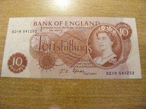 A Ten Shillings Banknote J Fforde B21N 541252 , UNC very crisp B--N number note