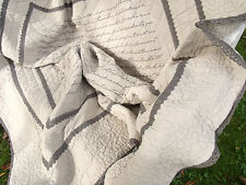 Tagesdecke FRENCH Grau 260x300 bestickt Vintage Shabby Quilt Plaid Franske