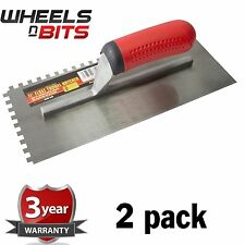 "2 PK 11"" Float Trowel Notched Builder Brick Cement Plasterer Flooring Adhesives"