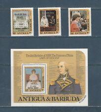 Barbuda naissance du bébé Royal 3 timbres et 1 bloc de 1982 **