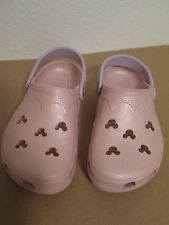 Disney Mickey Mouse Pink Crocs Size M2 W4 Junior Youth Womens Purple Strap VGUC