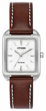 Ladies Citizen Eco-Drive Square Dark Brown Leather White Dial Watch EM0490-08A