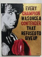 Rocky Balboa gold hand painted art inspirational quote canvas portrait signed