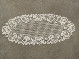 """Lace Table Runner Ivory Rose design 33"""" x14"""""""