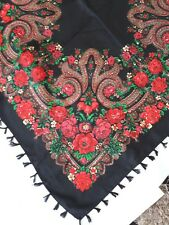 Señoras Negro Estilo Eslavo Ruso Folk Bufanda Chal red Floral Pavlovo Posad