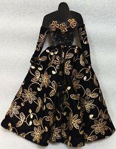VTG Bruce A. Nygren Barbie OOAK Black Dress w/Gold Flowers Beaded Earrings Shoes