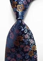 New Classic Floral Blue Gold Pink JACQUARD WOVEN 100% Silk Men's Tie Necktie