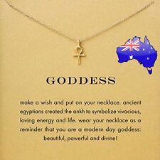 GODDESS Gold Egyptian Ankh Wish Inspirational Message Pendant Necklace Gift NEW