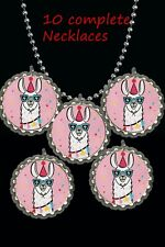 LLama  Bottle Cap Necklaces great birthday party favors lot of 10 loot bag ready
