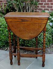 Antique English Oak Drop Leaf OVAL Gate Leg Table SLIM Profile Bobbin Twist