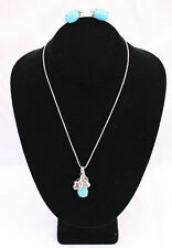 MAGNIFICENT FRENCH 14K SET OF  DIAMOND  TURQUOISE NECKLACE  & EARRINGS