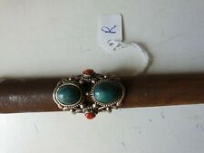 Stunning Sterling Silver Navajo Ring Turquoise And Coral Vintage. UK size R.