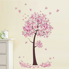 Pink Butterfly Tree Flowers Vinyl Wall Sticker Decal DIY Nursery Kids Room Decor