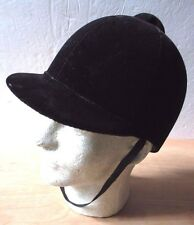 Equestrian Cycolac Safety Crown Black Velvet Hat Horse Back Riding Riding 7 3/8