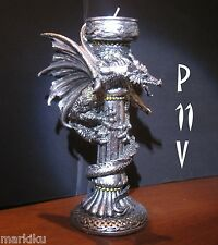 New Silver tone Mythical Dragon tea candle holder coloum steampunk gothic 8""