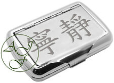 Tobacco Tin Engraved Chinese Symbols TRANQUILITY Personalised FREE