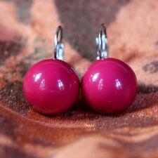 Boucles d'Oreilles Boule Rouge Argentée Dormeuse Classique Mariage Cadeau EE 6