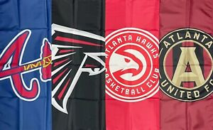 Atlanta Braves Falcons Hawks United FC Flag 3x5 ft Sports Banner Man-Cave Garage