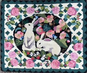 """Claire Murray Original Bunny Rabbits in Lattice 38 x 32"""" Hand Hooked Wool Rug"""