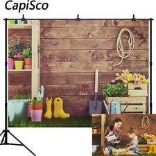 Spring Easter Photography Backdrops Grass Wooden Wall Baby Shower Backgrounds