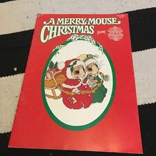 VTG A Merry Mouse Christmas Cross Stitch X Pattern Craft Book DIY HTF