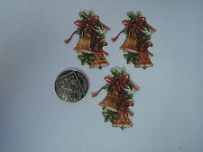 PK 6 ANITA'S CHRISTMAS HOLLY BELLS EMBELLISHMENT TOPPERS FOR CARDS/CRAFTS