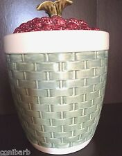 Pfaltzgraff JAMBERRY Large Raspberry Sculpted Green Weave Canister