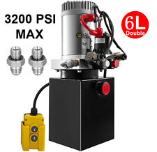 Double Acting Hydraulic Pump DC 12V Trailer Power Unit - 6 Quart Steel Reservoir