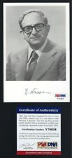 Yitzhak Navon signed 4x6 picture PSA Authenticated 5th President of Israel