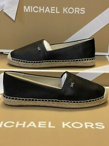 NIB MICHAEL KORS KENDRICK SLIP ON ESPADRILLE LEATHER BLACK