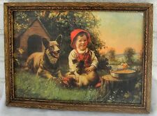 Adorable Antique Signed Print  Boy Dog Pup Chick Warm Colors Framed