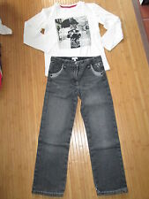 Lot Pantalon en jean + Tee-shirt,ML,Taille 8/10ans,marques Alphabet/Kiabi,TBE