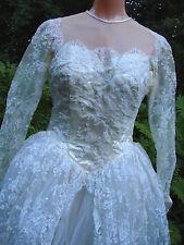 Vintage 40 50s Lace Bridal Gown Dress Train Hip Panniers S M Tulle Gc Elegant
